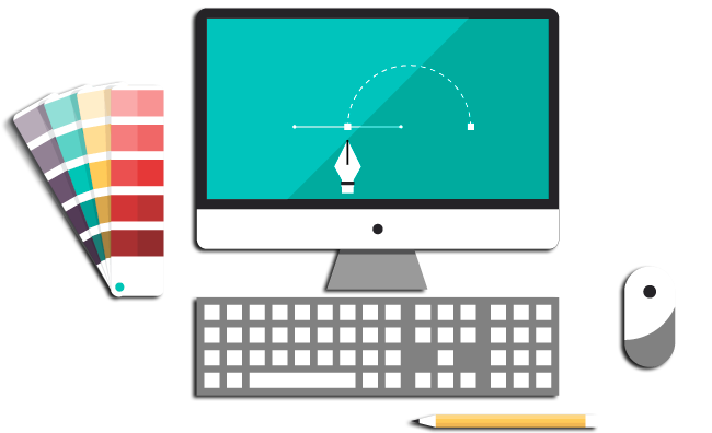 Web design elements: Mac monitor, keyboard, mouse, pencil and Pantone color swatches